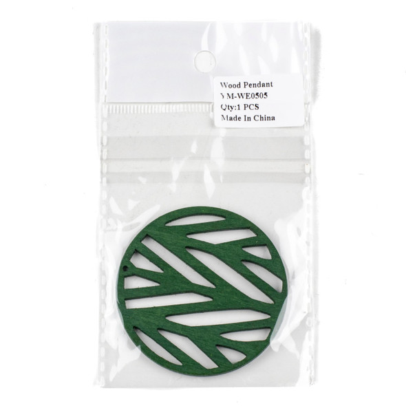 Aspen Wood Laser Cut 59mm Green Branch Coin Pendant - 1 per bag