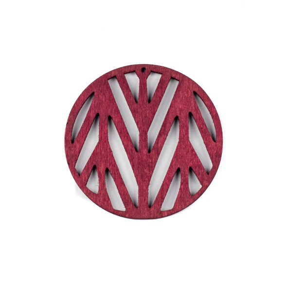Aspen Wood Laser Cut 59mm Red Branch Coin Pendant - 1 per bag