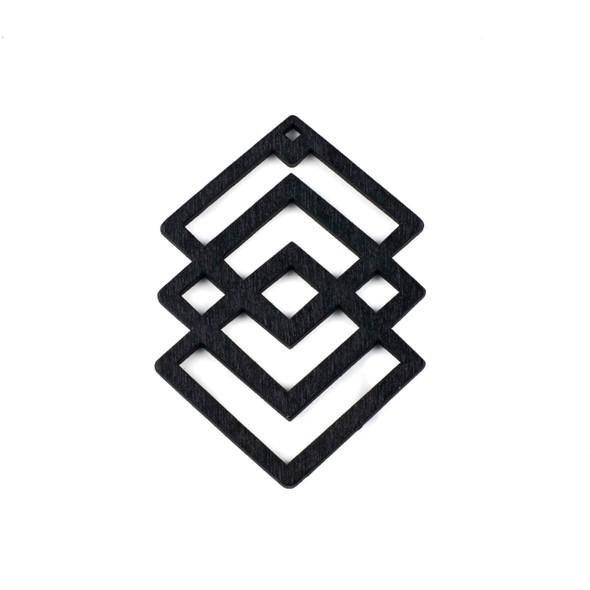 Aspen Wood Laser Cut 49x69mm Black Geometric Overlapped Diamonds Pendant - 1 per bag
