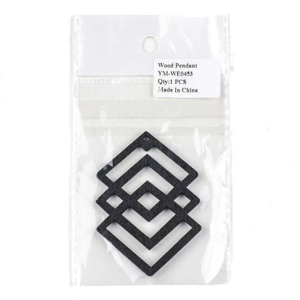Aspen Wood Laser Cut 49x69mm Black Geometric Overlapped Diamonds Pendant - 1 per bag
