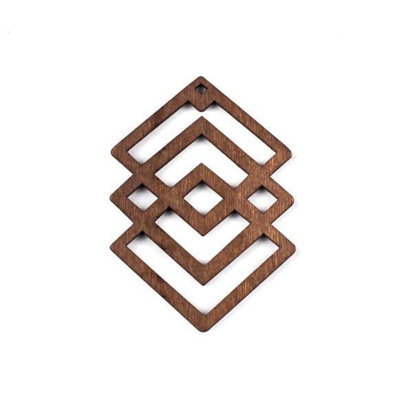 Aspen Wood Laser Cut 49x69mm Dark Brown Geometric Overlapped Diamonds Pendant - 1 per bag