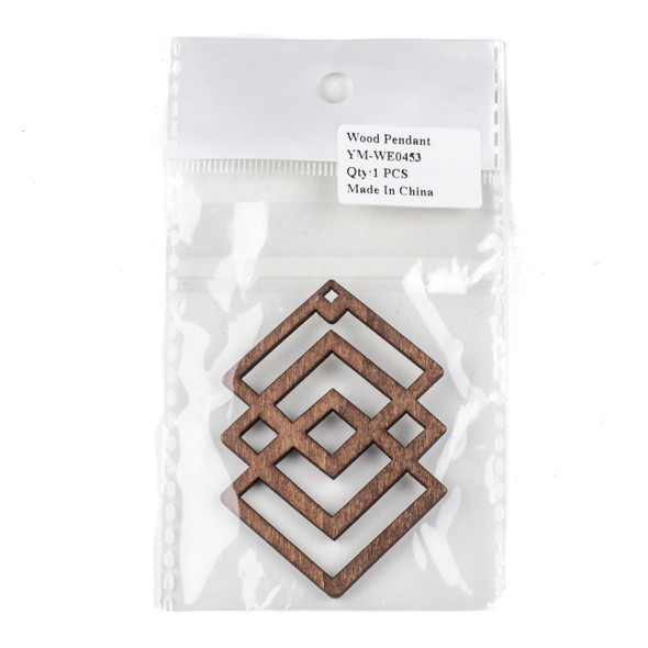 Aspen Wood Laser Cut 49x69mm Dark Brown Geometric Overlapped Diamonds Pendant - 1 per bag