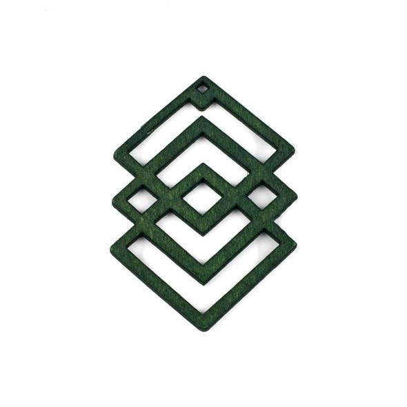 Aspen Wood Laser Cut 49x69mm Green Geometric Overlapped Diamonds Pendant - 1 per bag