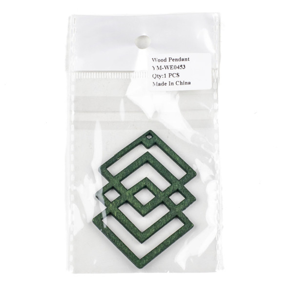 Aspen Wood Laser Cut 49x69mm Green Geometric Overlapped Diamonds Pendant - 1 per bag