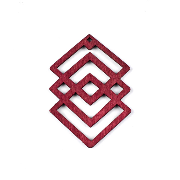 Aspen Wood Laser Cut 49x69mm Red Geometric Overlapped Diamonds Pendant - 1 per bag