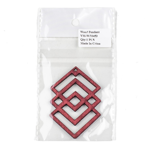 Aspen Wood Laser Cut 49x69mm Red Geometric Overlapped Diamonds Pendant - 1 per bag