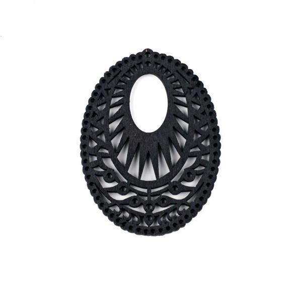 Aspen Wood Laser Cut 51x69mm Black Intricate Oval Pendant - 1 per bag