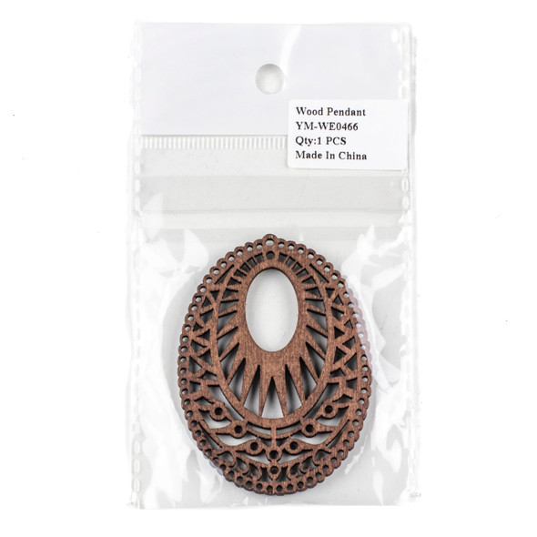 Aspen Wood Laser Cut 51x69mm Dark Brown Intricate Oval Pendant - 1 per bag