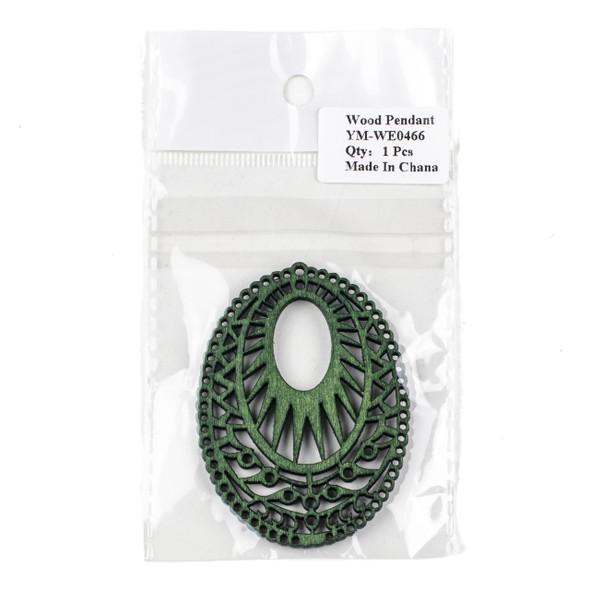 Aspen Wood Laser Cut 51x69mm Green Intricate Oval Pendant - 1 per bag