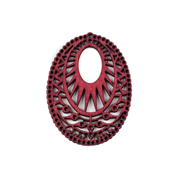 Aspen Wood Laser Cut 51x69mm Red Intricate Oval Pendant - 1 per bag