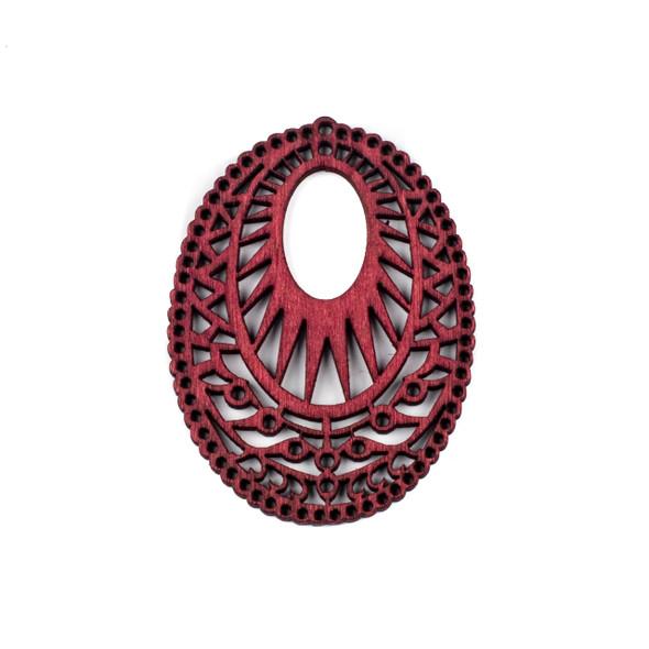 Aspen Wood Laser Cut 51x69mm Red Intricate Oval Pendant - 1 per bag