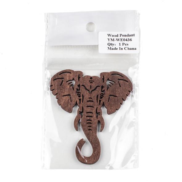 Aspen Wood Laser Cut 66x76mm Dark Brown Elephant Head Pendant - 1 per bag