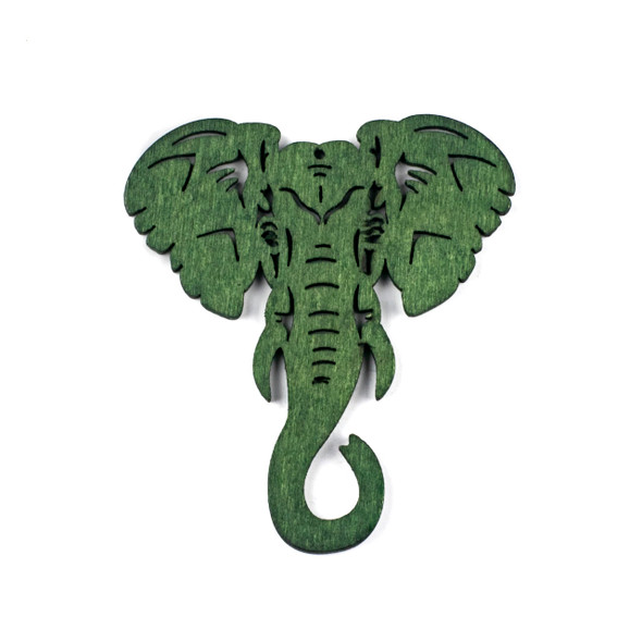 Aspen Wood Laser Cut 66x76mm Green Elephant Head Pendant - 1 per bag
