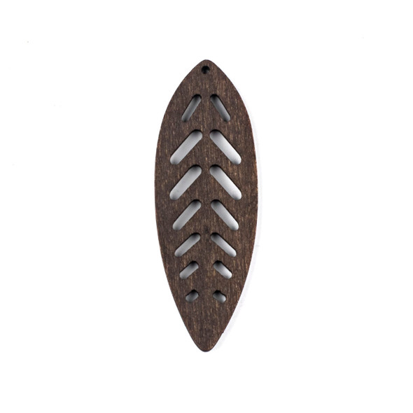 Aspen Wood Laser Cut 27x78mm Dark Brown Leaf Pendant - 1 per bag