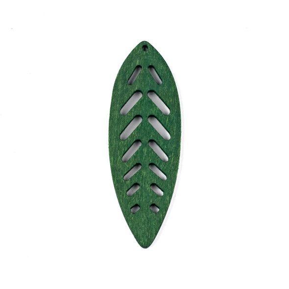 Aspen Wood Laser Cut 27x78mm Green Leaf Pendant - 1 per bag