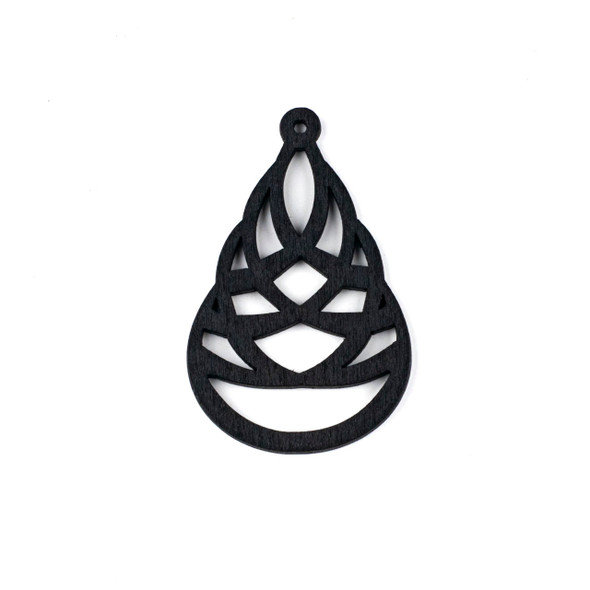 Aspen Wood Laser Cut 41x64mm Black Woven Teardrop Pendant - 1 per bag