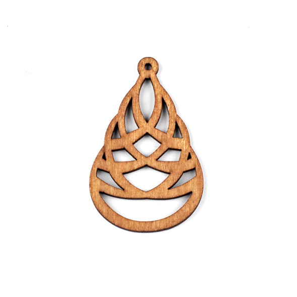 Aspen Wood Laser Cut 41x64mm Brown Woven Teardrop Pendant - 1 per bag
