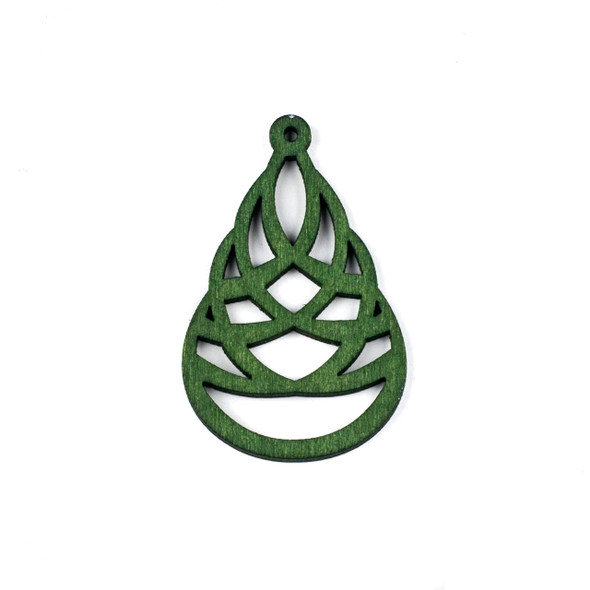 Aspen Wood Laser Cut 41x64mm Green Woven Teardrop Pendant - 1 per bag