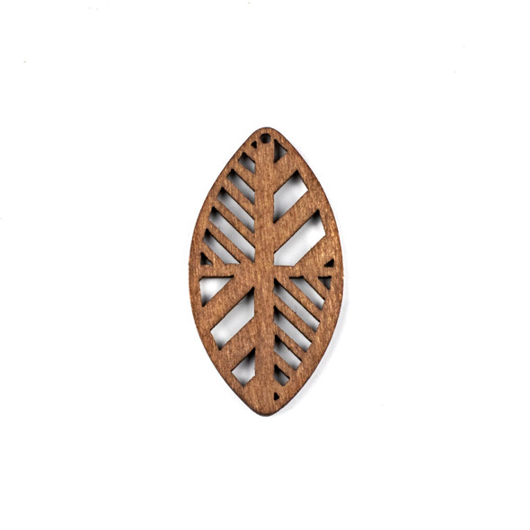 Aspen Wood Laser Cut 32x60mm Dark Brown Geometric Marquis Pendant - 1 per bag