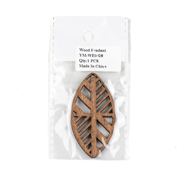 Aspen Wood Laser Cut 32x60mm Dark Brown Geometric Marquis Pendant - 1 per bag