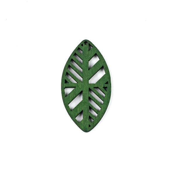 Aspen Wood Laser Cut 32x60mm Green Geometric Marquis Pendant - 1 per bag