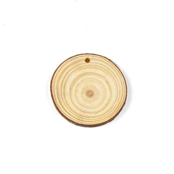 Aspen Wood Natural approximately 45-50mm Slice Pendant - 1 per bag
