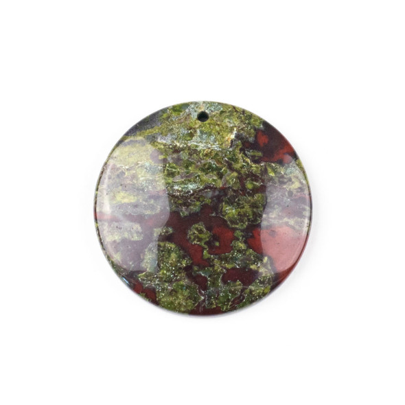 Dragon Blood Jasper 40mm Top Front to Back Drilled Coin Pendant with a Flat Back - 1 per bag