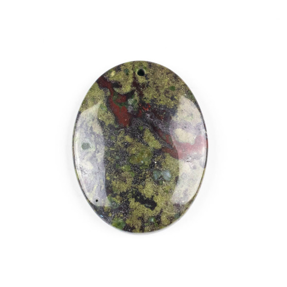 Dragon Blood Jasper 35x45mm Top Front to Back Drilled Oval Pendant with a Flat Back - 1 per bag