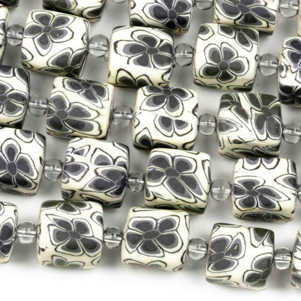 Fimo 11x12mm White Square Tube Beads with Black Flowers