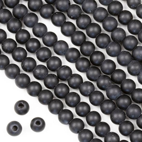 Large Hole Matte Glass, Sea Glass Style 8mm Black Round Beads - 8 inch strand