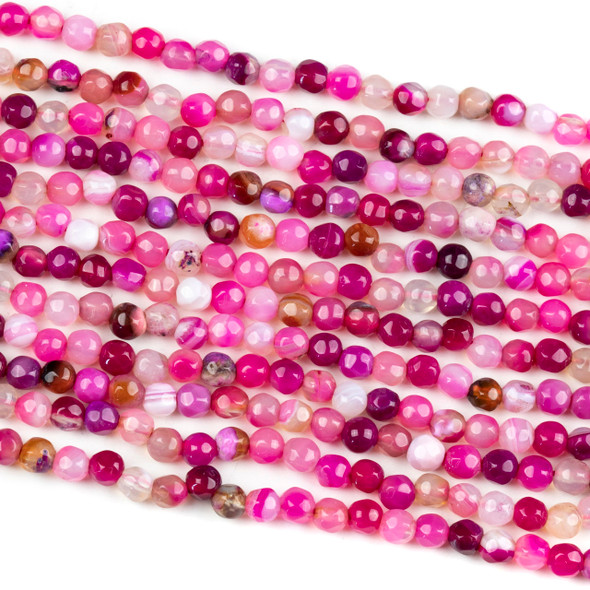Dyed Agate 4mm Faceted Round Beads in a Pink Mix - 14 inch strand