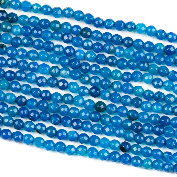 Dyed Agate Bright Blue 4mm Faceted Round Beads - 14 inch strand