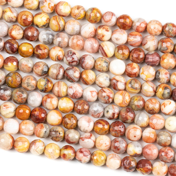 Natural Red Crazy Lace Agate 6mm Faceted Round Beads - 15 inch strand