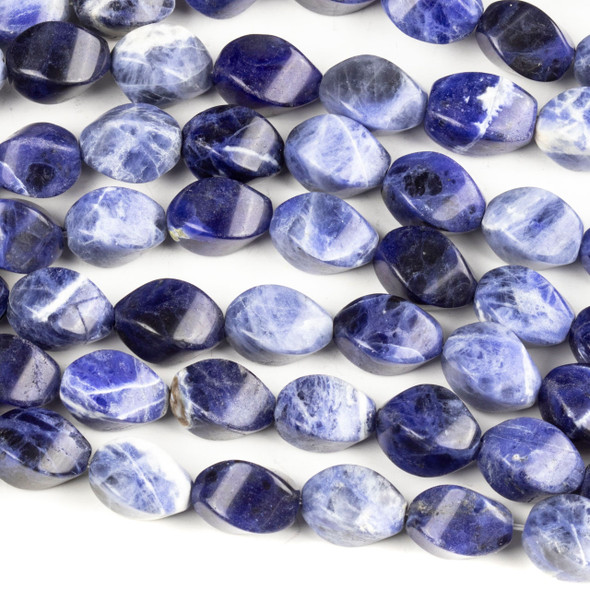Sodalite 10x11mm Twisted Rice Beads - 16 inch strand