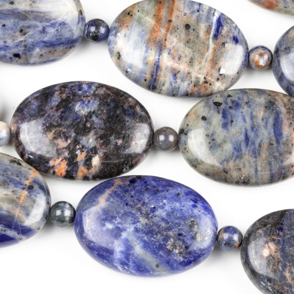 Sodalite 24x32mm Puffed Oval Beads alternating with 6mm Round Beads - 14 inch strand