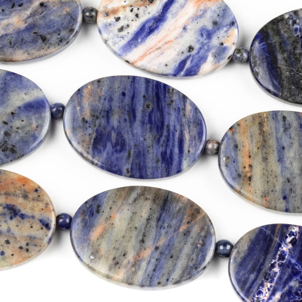 Sodalite 25x35mm Oval Beads alternating with 4mm Round Beads - 14 inch strand