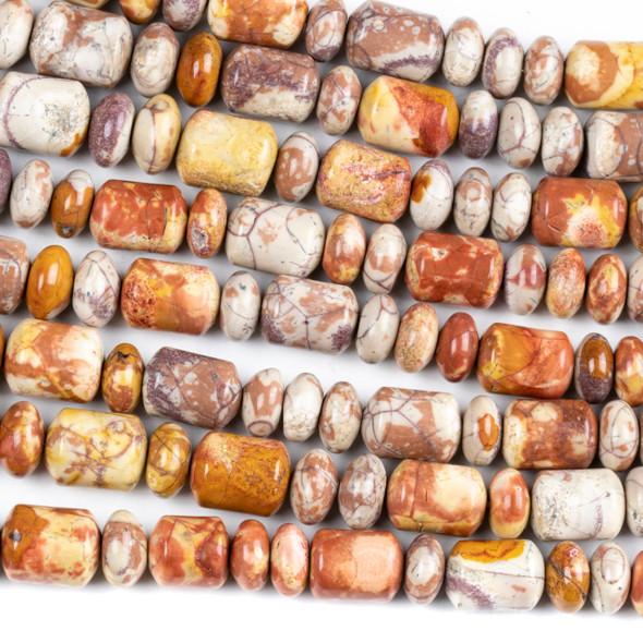 Birds Eye Rhyolite Graduated 6x10-8x12mm Barrel Beads and 6-8mm Rondelle Beads - 17 inch strand