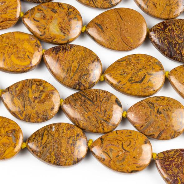 Elephant Skin Jasper 18x24mm Teardrop Beads - 15 inch knotted strand
