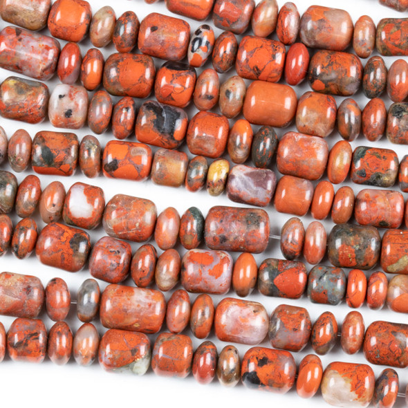 Red Brecciated Jasper Graduated 6x10-8x12mm Barrel Beads and 6-8mm Rondelle Beads - 17 inch strand