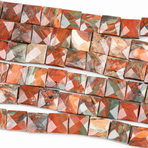 Red Brecciated Jasper 10mm Faceted Square Beads - 16 inch strand