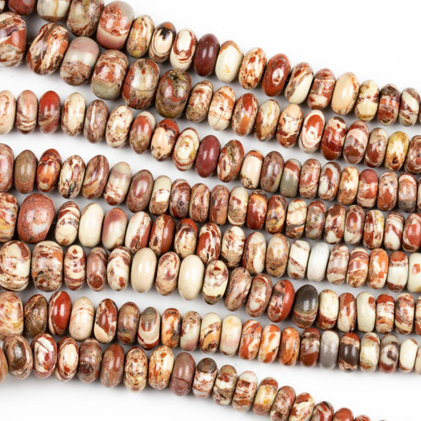Red Brecciated Jasper 2x4-6x9mm Graduated Rondelle Beads - 16 inch strand