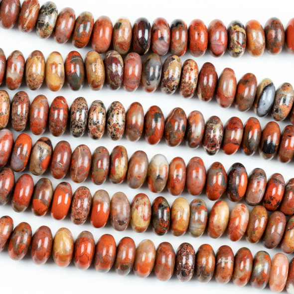 Red Brecciated Jasper 10mm Rondelle Beads - 16 inch strand