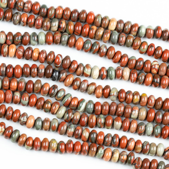 Red Brecciated Jasper 6mm Rondelle Beads - 16 inch strand