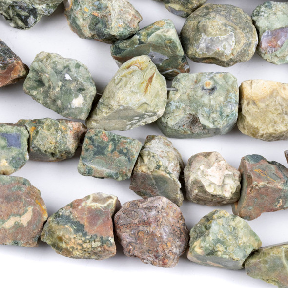 Rhyolite approximately 15x20mm Rough Nugget Beads - 16 inch strand