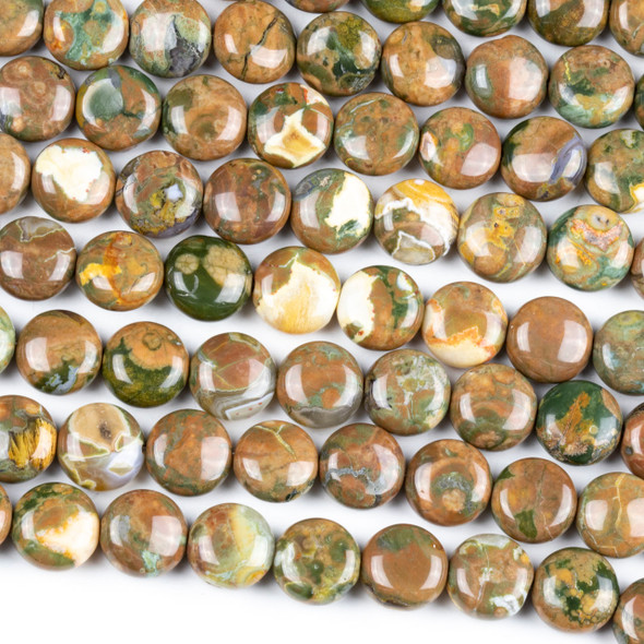 Brown Rhyolite 10mm Coin Beads - 15.5 inch strand