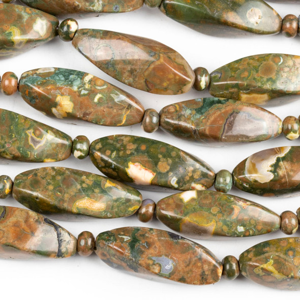 Brown Rhyolite 15x31mm Twisted Barrel Beads alternating with 4x6mm Rondelles- 15.5 inch strand