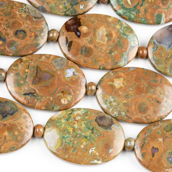 Brown Rhyolite 25x35mm Oval Beads alternating with 4x6mm Rondelles - 15.5 inch strand