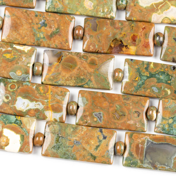 Brown Rhyolite 15x30mm Rectangle Beads alternating with 4x6mm Rondelles - 16 inch strand