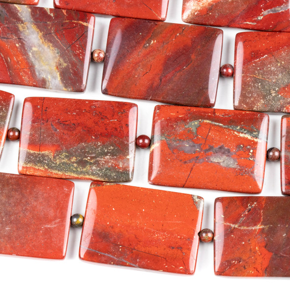 Apple Jasper 25x35mm Rectangle Beads alternating with 4mm Round Beads - 7.5 inch strand