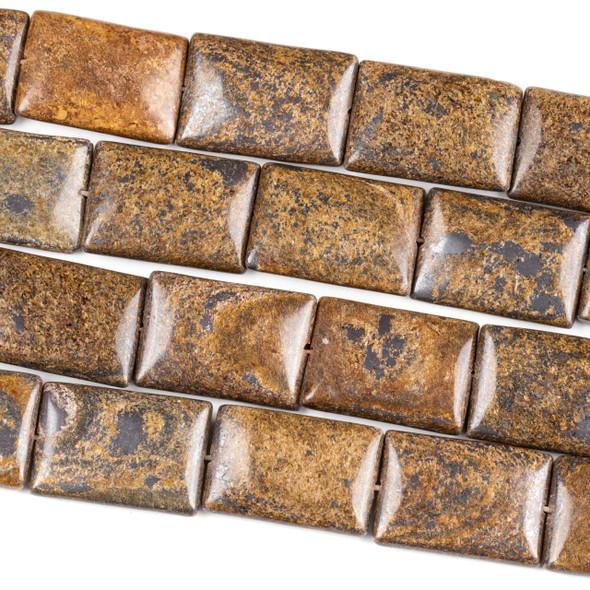 Bronzite 18x25mm Square Beads - 16 inch strand